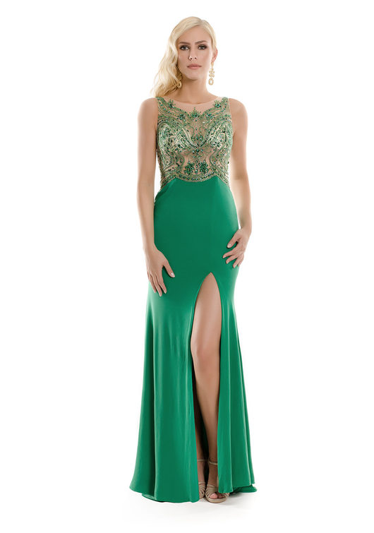 Stylisches Abendkleid aus Jersey in Grün
