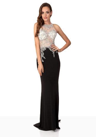 Abendkleid in Black & White mit Paillettenstickerei aus Jersey