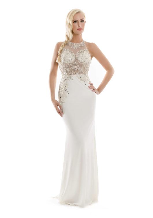 Abendkleid mit Paillettenzier in Weiß