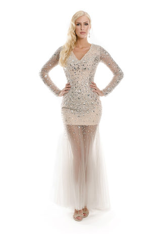 Evening dress made of tulle in champagne with iridescent rhinestone