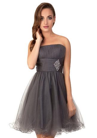 Gasa vestido de Cóctel en color Gris con diamantes de imitación