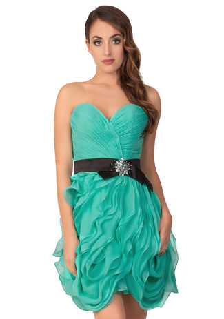 Chiffon dress in Jade with a stylish wave look