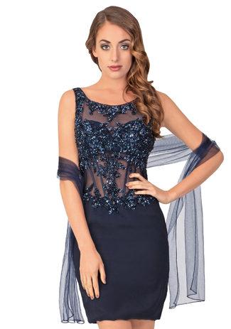 Chiffon cocktail dress in dark blue with glitter decor