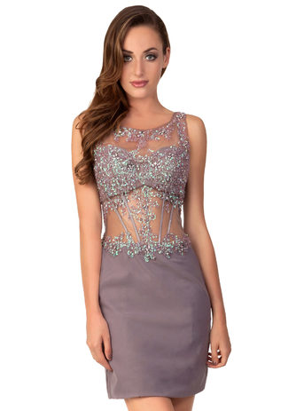 Cocktail dress of Taupe Chiffon with sequins