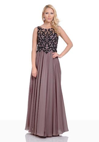 Taupe Abendkleid aus Chiffon mit ornamentalem Dekor