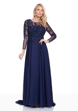 Abendkleid aus Chiffon in Dunkelblau mit langen Ärmeln