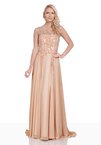 Chiffon evening dress in Beige
