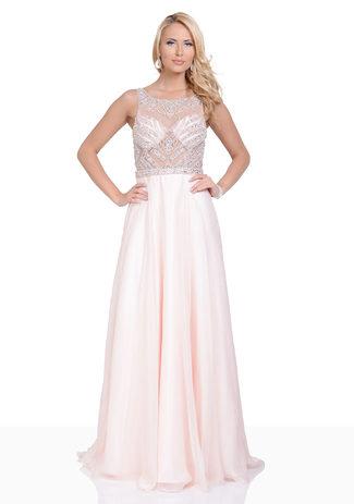 Bodenlanges Chiffon Abendkleid mit Steinbesatz in Pearl Pink