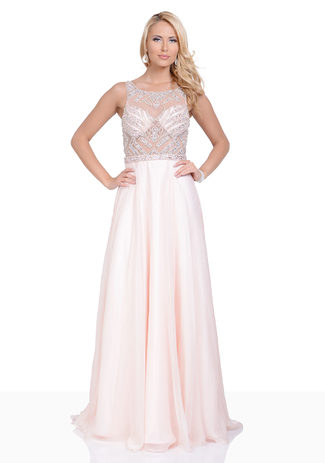 Evening dress in pink Chiffon with hand made embroidery