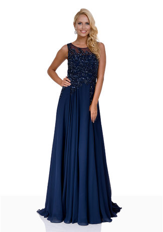 Chiffon Abendkleid mit Pailletten in Twilight Blue