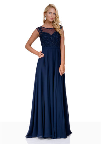 Abendkleid aus Chiffon mit Steinbesatz in Night Blue