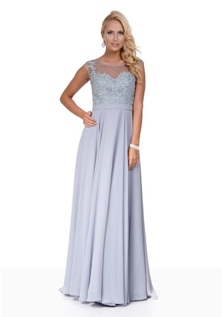 Chiffon Abendkleid mit Strass in Ghost Gray