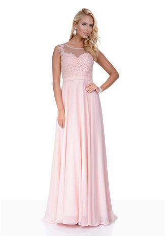 Chiffon Abendkleid mit Strassapplikationen in Pearl Pink