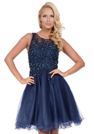 Cocktail dress made of tulle in Navy Blue