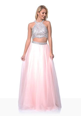 Zweiteiliges Abendkleid mit Strassbesatz aus Tüll in Pearl Pink