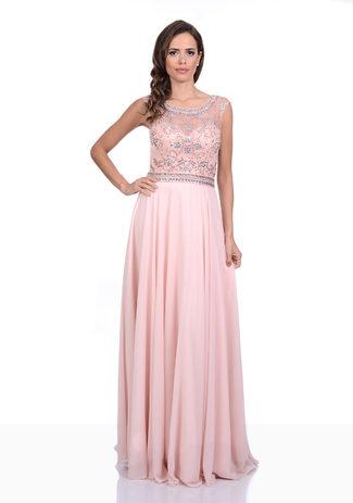 Chiffon Abendkleid in Pearl Pink mit Strassverzierungen