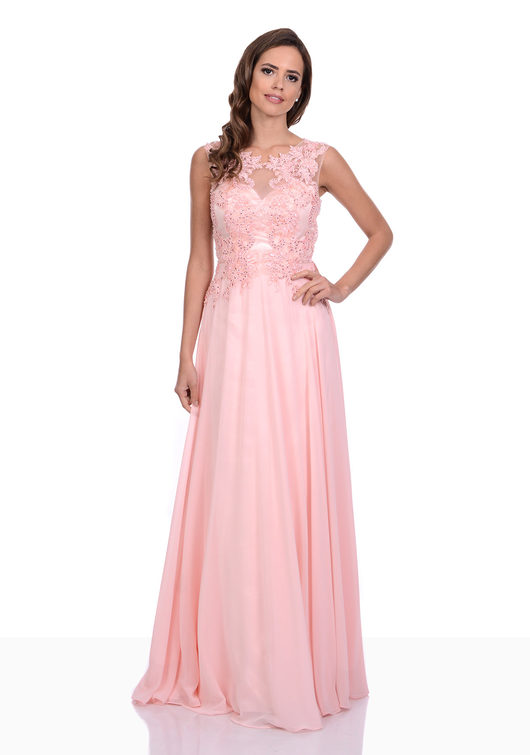 Chiffon Abendkleid mit Glitzerdekor in Pearl Pink