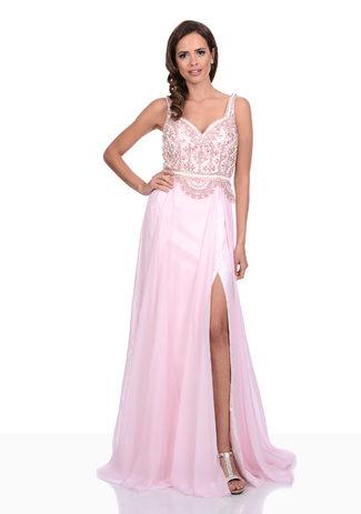 Abendkleid in Pearl Pink mit Beinschlitz und Taillengürtel aus Chiffon
