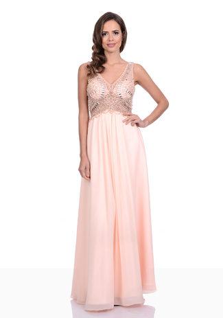 Chiffon Abendkleid mit Strassbesatz und V-Ausschnitt in Pearl Pink