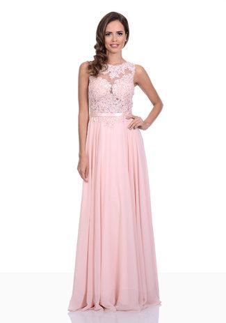 Abendkleid aus Chiffon in Pearl Pink mit Spitze