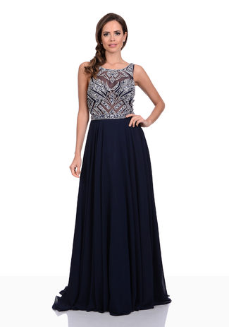 Floor-length Chiffon evening dress with stone trim in Twilight Blue