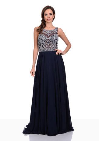 Floor-length Chiffon evening dress with stone trim in Twilight Blue