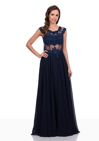 Chiffon Abendkleid mit handgefertigter Spitze in Twilight Blue