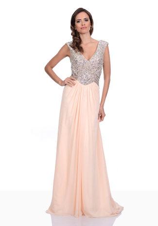 Chiffon Abendkleid in Apricot Blush mit Strass-Oberteil