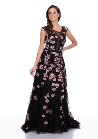 Abendkleid aus Tüll und Blüten-Spitze mit Schleppe in Phantom Black-Nude
