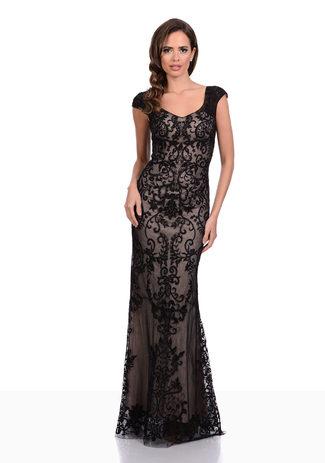 Abendkleid aus Spitze und Tüll mit Ornamenten in Black & Cream