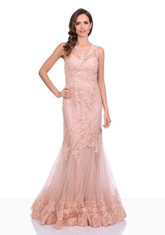 Abendkleid aus Tüll und zarter Spitze mit Strass in Pink Nectar
