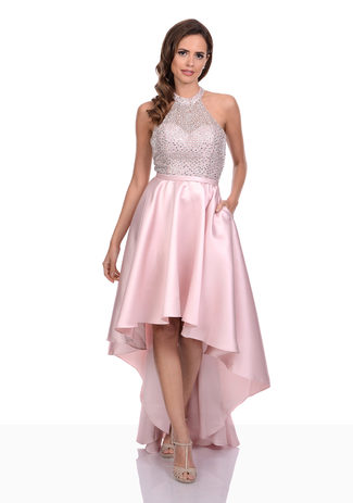 Jersey evening dress in Apricot Blush