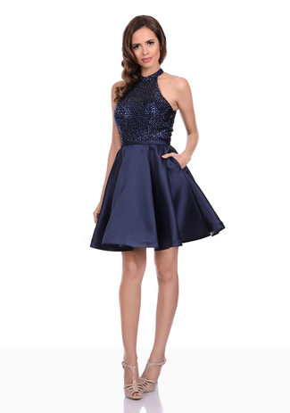 Mikado Cocktailkleid in Night Blue mit Strassoberteil