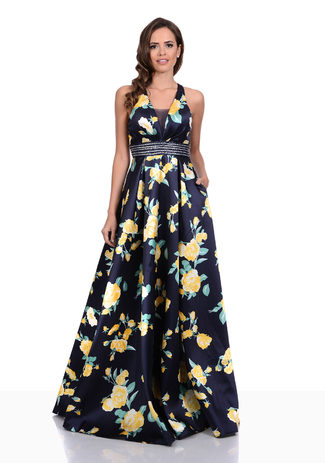 Mikado Abendkleid im floralem Design in Night Blue-Yellow