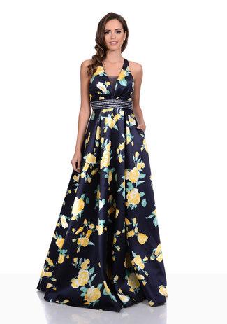 Mikado Abendkleid im floralem Design in Night Blue-Yellow
