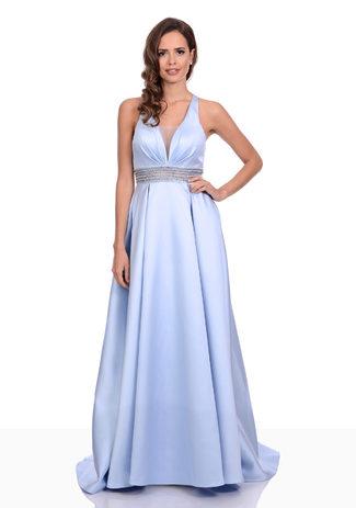 Evening dress made of Mikado in Aqua Blue with rhinestone belt