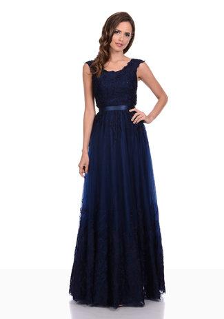 Abendkleid aus Spitze und Tüll in Night Blue mit Strassverzierungen