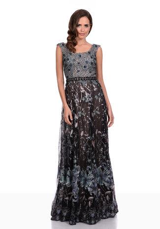 Abendkleid in Etherea Brown aus Spitze mit floralen Ornamenten