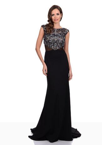 Abendkleid aus Jersey mit Perlen- und Strassbesatz in Phantom Black