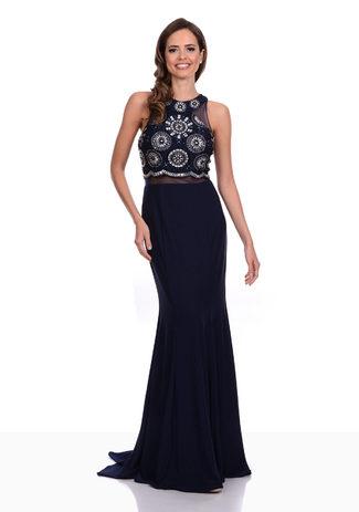 Abendkleid aus Jersey in Twilight Blue mit aufwendigen Verzierungen