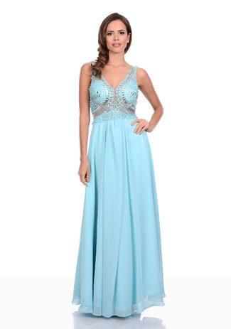 Chiffon Abendkleid in Aqua Blue mit Strassverzierungen