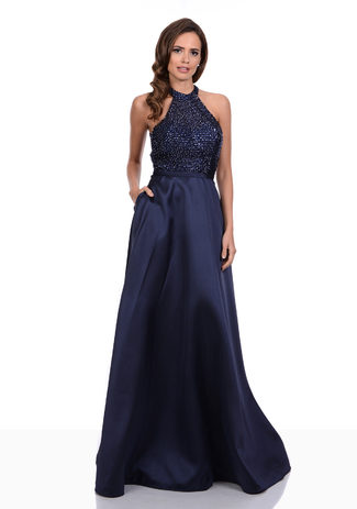 Halter Vestido de noche en la noche Azul de Gasa