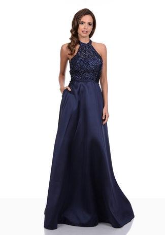 Neckholder Abendkleid in Night Blue aus Chiffon