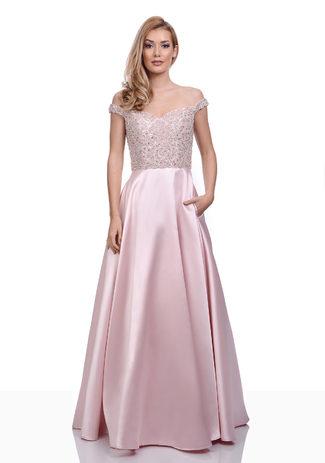 Abendkleid aus Mikado mit funkelndem Besatz in Pearl Pink