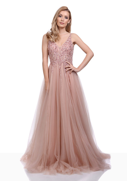 Evening dress made of tulle with Rhinestones in Dawn Pink