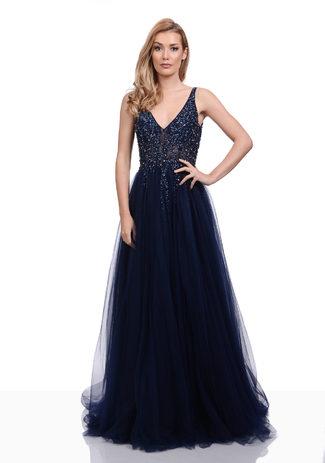 Vestido de noche de Tul con Strassbesatz en Twilight Blue