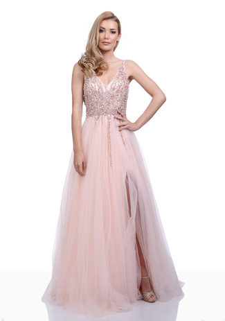 Evening dress made of tulle with Rhinestones in Pearl Pink