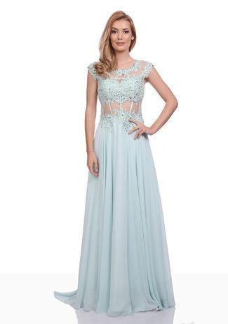 Chiffon Abendkleid mit handgefertigter Spitze in Aqua Blue
