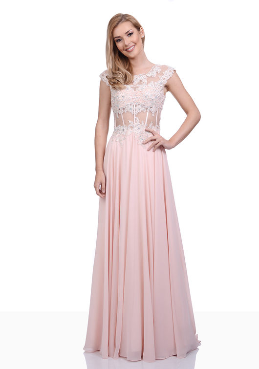 Chiffon evening dress with handmade lace in Twilight Blue