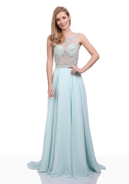 Bodenlanges Chiffon Abendkleid mit Steinbesatz in Aqua Blue
